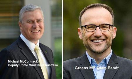 انتخاب آدام بند بعنوان رهبر جدید حزب سبزها و ابقای مایکل مک کورمک به عنوان رهبر حزب ملی گرایان استرالیا